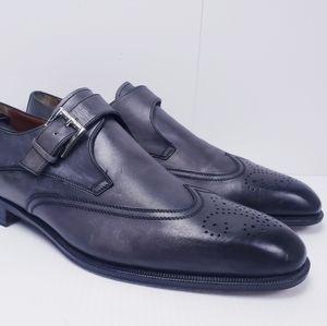 a.testoni Men's Monk Strap Gray/Black Leather